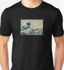 Great Wave T-Shirt - Hokusai Duvet Surfing Kanagawa Mount Fuji Sticker Slim Fit T-Shirt