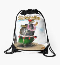 Turtle Dancing the Hula on a Hawaiian Beach Drawstring Bag