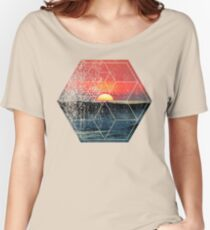 Nature and Geometry - Sunset at Sea Polygonal Design Women's Relaxed Fit T-Shirt