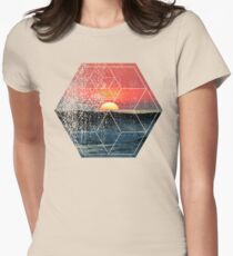Nature and Geometry - Sunset at Sea Polygonal Design Womens Fitted T-Shirt