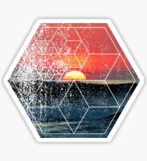 Nature and Geometry - Sunset at Sea Polygonal Design Sticker