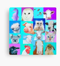 Animal paintings collage for nursery wall Canvas Print