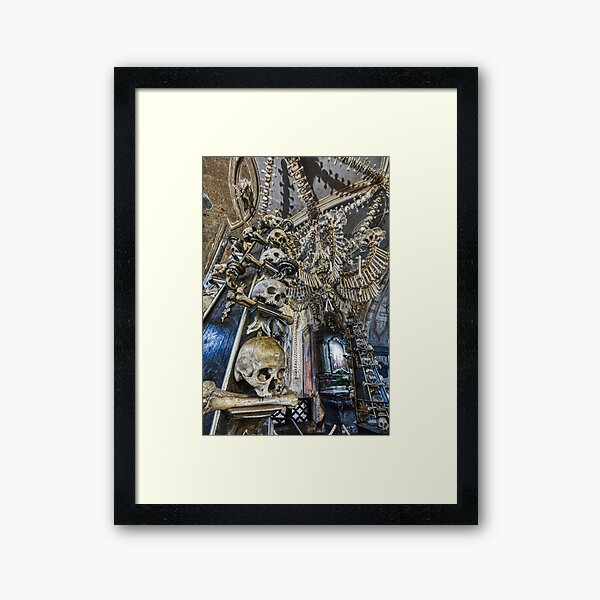 Sedlec Ossuary Column Photo Art, Skull Bone Church Framed Art Print