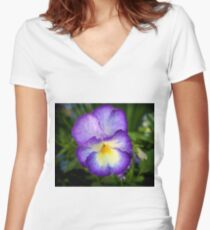Pansy flower Women's Fitted V-Neck T-Shirt