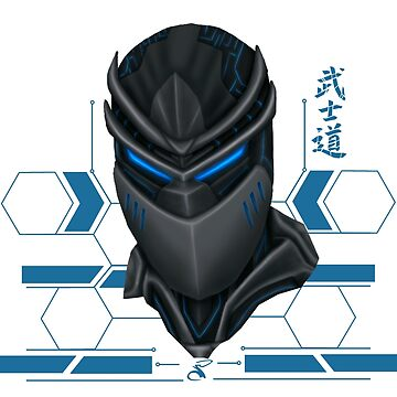 Cyber ​​samurai head blue by salimgor