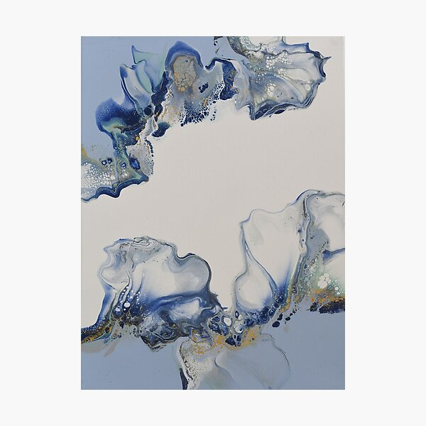 Blue lagoon - Dutch Pour Acrylic Original Fluid Art Photographic Print