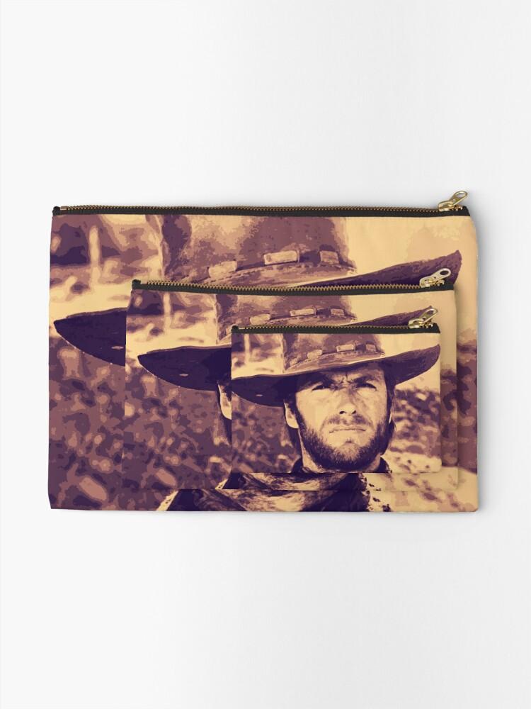 Alternate view of CLINT EASTWOOD - Clint Eastwood Cowby Hat Portrait Original Art Zipper Pouch