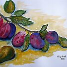 Plums and a pear by Elizabeth Kendall