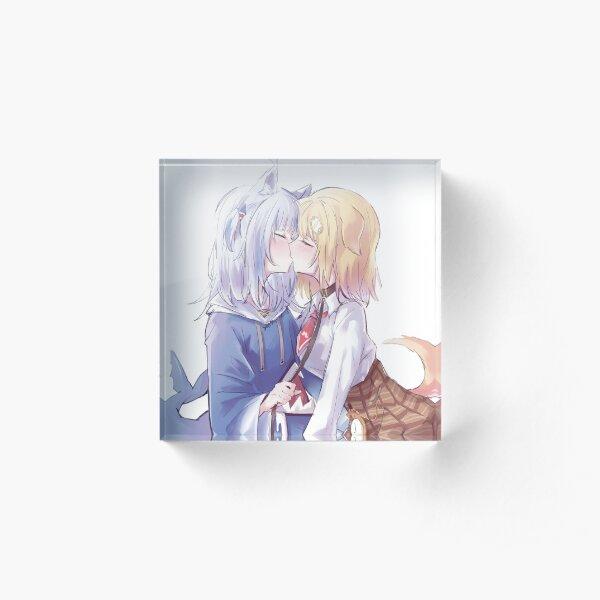 Amelia Watson x Gawr Gura Kissing Acrylic Block