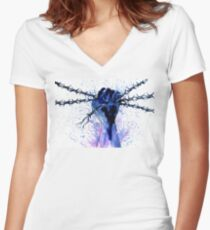 Hand with Barbed Wire Women's Fitted V-Neck T-Shirt