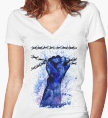 Hand with Barbed Wire 3 Women's Fitted V-Neck T-Shirt