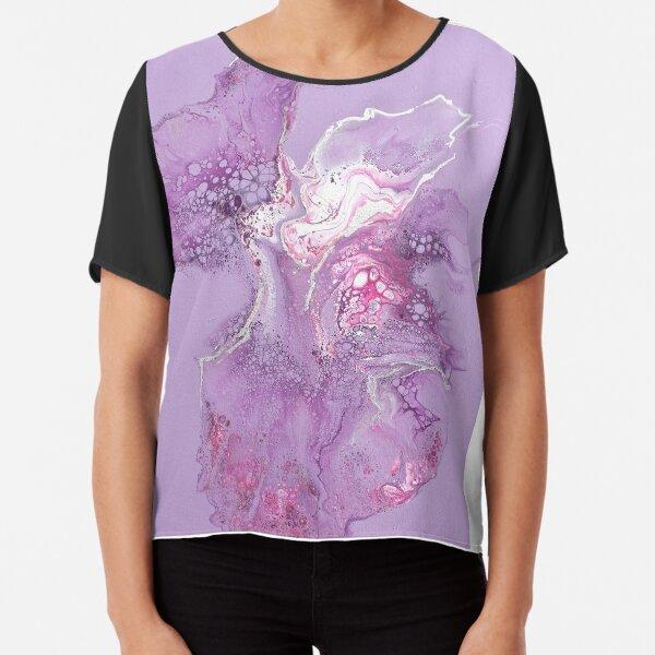 Purple flower - Dutch pour acrylic fluid art Chiffon Top