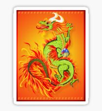 Flaming Dragon Poster Sticker
