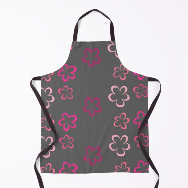 Funky Pink Retro Flowers Sticker Pack Apron