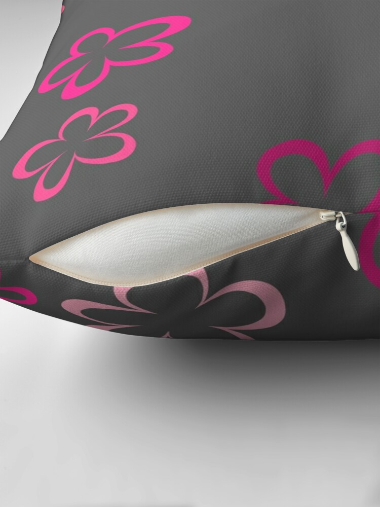 Alternate view of Funky Pink Retro Flowers Sticker Pack Throw Pillow