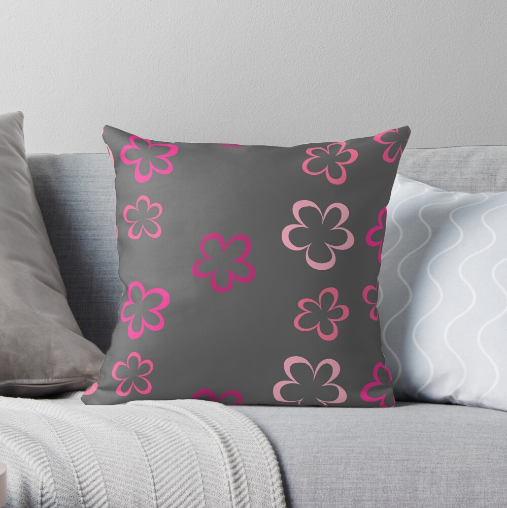 Funky Pink Retro Flowers Sticker Pack Throw Pillow