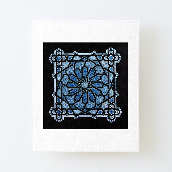 Blue mosaic - dot geometry art Canvas Mounted Print