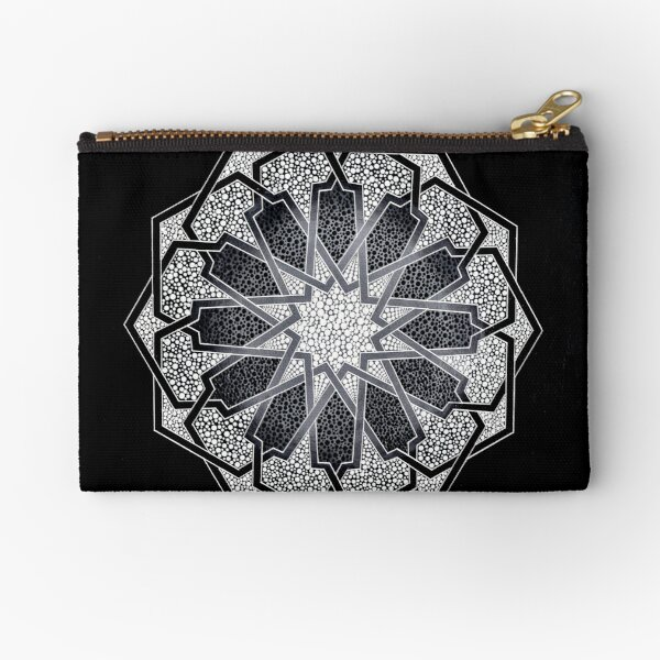 Black & White dots - Mosaic dot geometry art Zipper Pouch