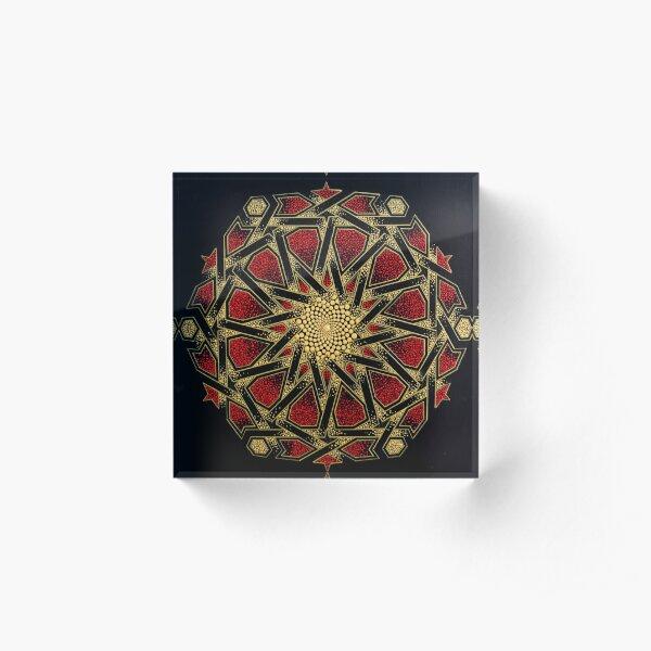 Golden mosaic - Geometric dot art Acrylic Block