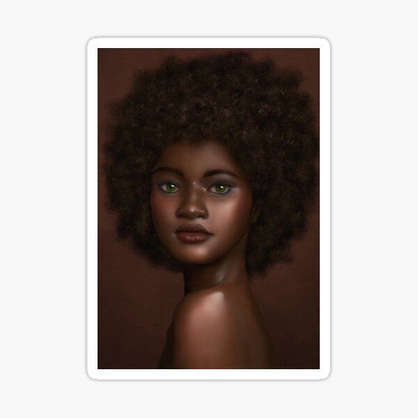 Beautiful Brown Queen With Natural Black Hair Sticker