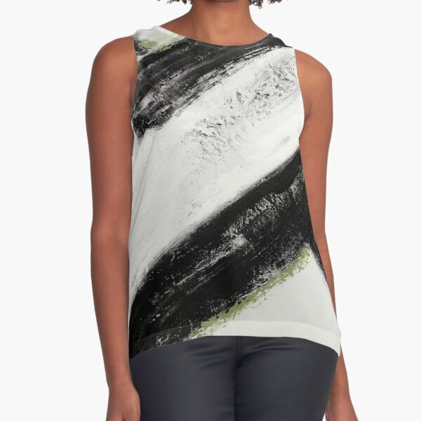 Abstract lines of space and time black, white and green Sleeveless Top