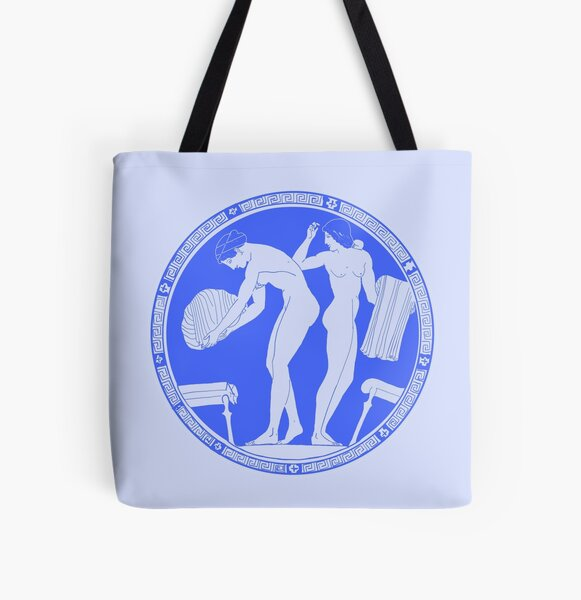 Blue Female Youth Kylix attrib. Douris All Over Print Tote Bag