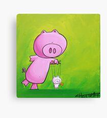 Splatter Puppet Pig Canvas Print