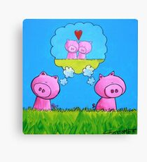 Splatter Pig Lovers Canvas Print