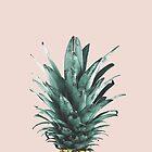 Pineapple on pink, Pineapple top, Minimal by Julia Emelianteva