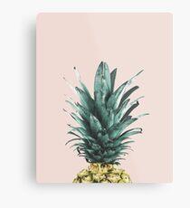 Ananas auf Rosa, Ananas-Top, Minimal Metallbild