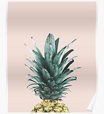 Pineapple on pink, Pineapple top, Minimal Poster