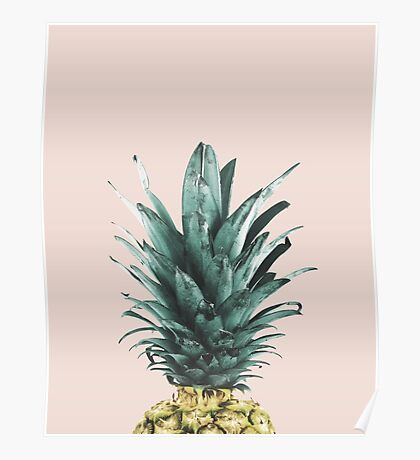 Pineapple on pink, Pineapple top, Minimal Poster