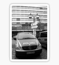 German Mercedes Police Car in front of Russian signboard Sticker