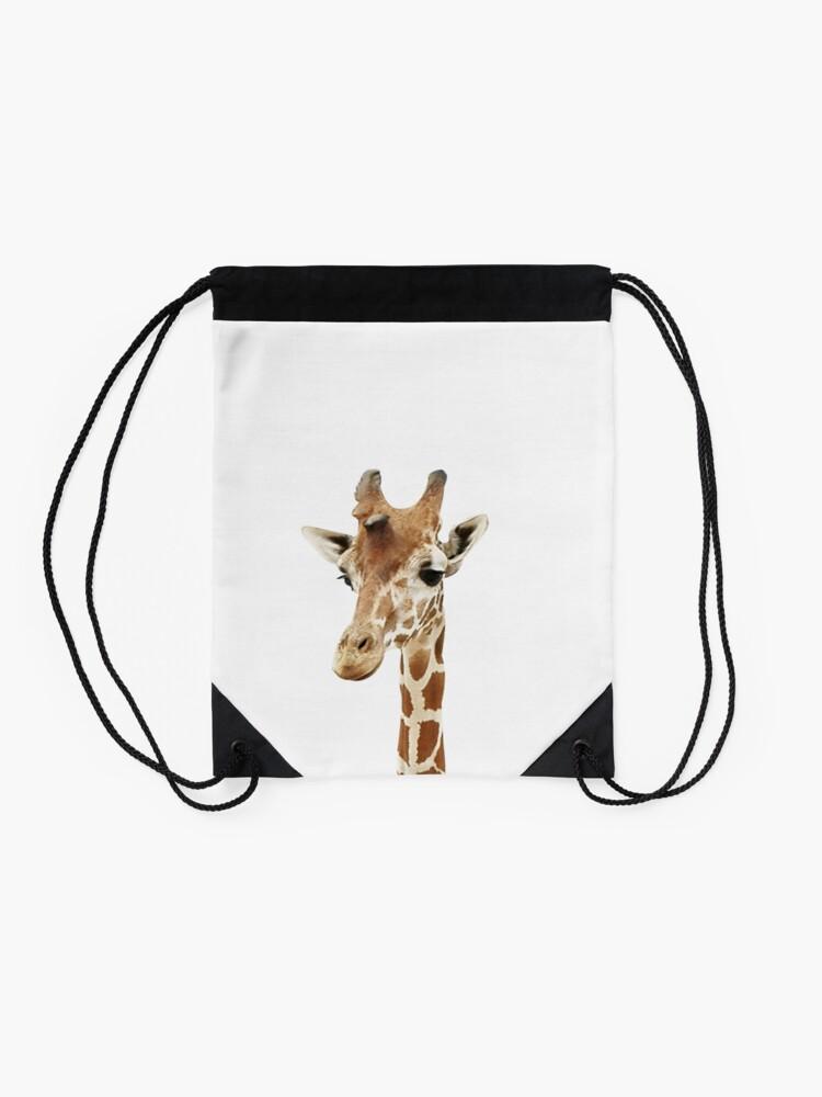 Alternate view of Baby Giraffe, Nursery, Animal, Kids room, Modern art, Wall decor Drawstring Bag