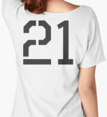 21, TEAM, SPORTS, NUMBER 21, TWENTY ONE, TWENTY FIRST, TWO, ONE, Stencil, Competition,  Women's Relaxed Fit T-Shirt