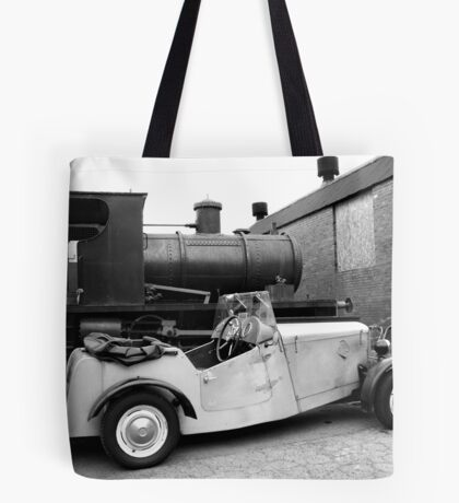 Old car and old steam tender Tote Bag