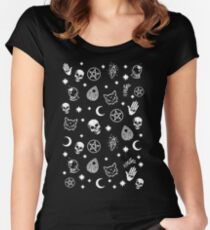Witch Pattern Women's Fitted Scoop T-Shirt