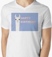 HAPPY BIRTHDAY LLAMA Men's V-Neck T-Shirt
