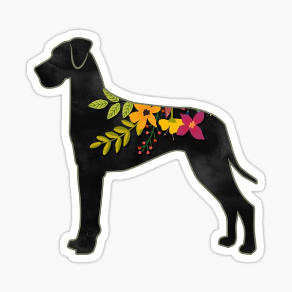 Great Dane Natural Dog Breed Bohemian Floral Silhouette Sticker