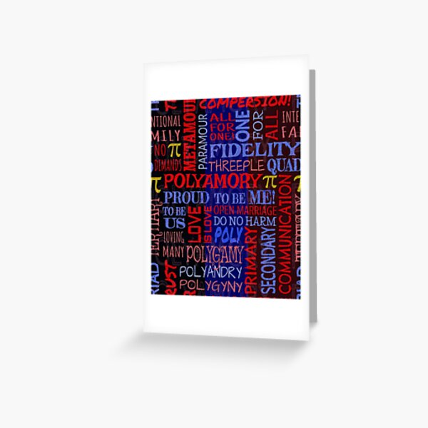 Polyamory Affirmation -- Subway Style Phrases in Polyamorous Flag Colors Greeting Card