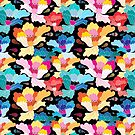 Seamless graphic pattern with beautiful flowers  by Tanor