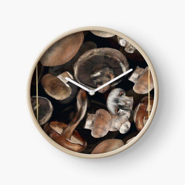Collage de champignons communs Horloge