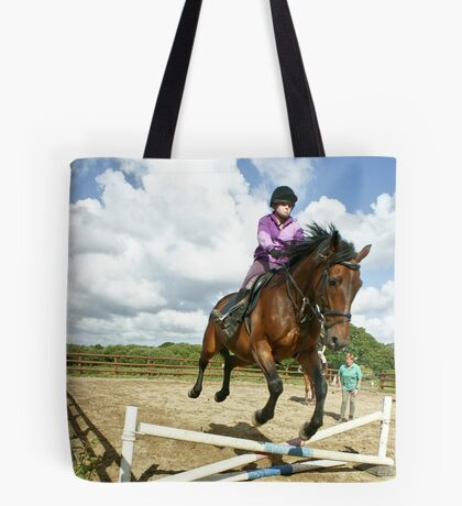 How to ride a horse: Get on it, and off you go! Tote Bag