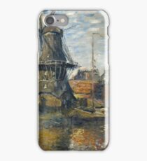 Claude Monet - The Windmill on the Onbekende Gracht  Amsterdam , Impressionism iPhone Case/Skin