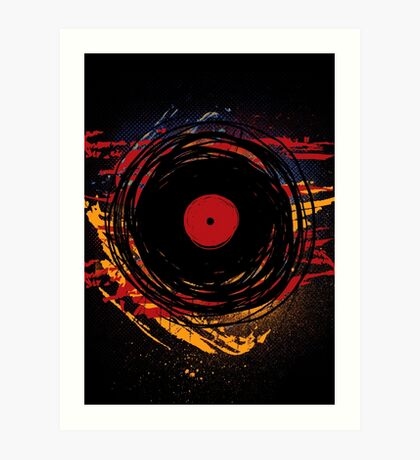 Vinyl Record Retro Grunge with Paint and Scratches - Music DJ! Art Print