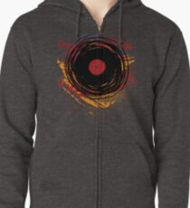 Vinyl Record Retro Grunge with Paint and Scratches - Music DJ! Zipped Hoodie