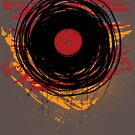 Vinyl Record Retro Grunge with Paint and Scratches - Music DJ! by Denis Marsili