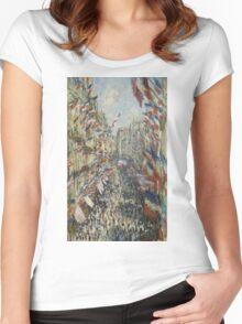 Claude Monet - The Rue Montorgueil in Paris. Impressionism Women's Fitted Scoop T-Shirt
