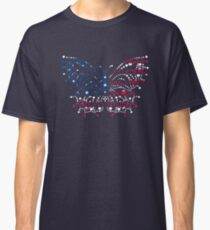 American Patriotic Dots Butterfly Flag  Classic T-Shirt