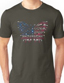 American Patriotic Dots Butterfly Flag  Unisex T-Shirt